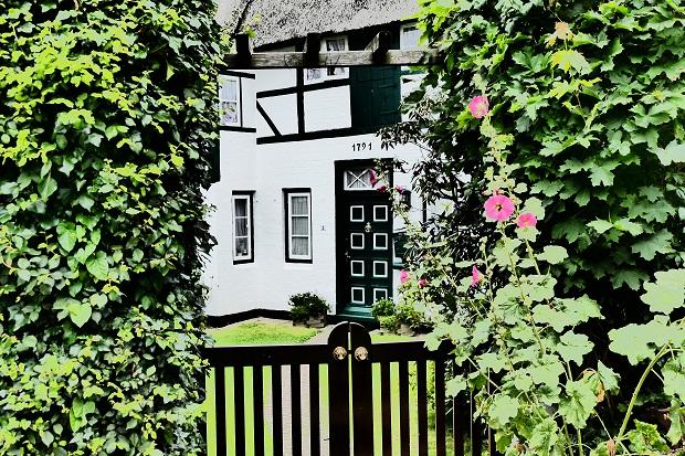 Reetgedecktes Haus im Treppenviertel
