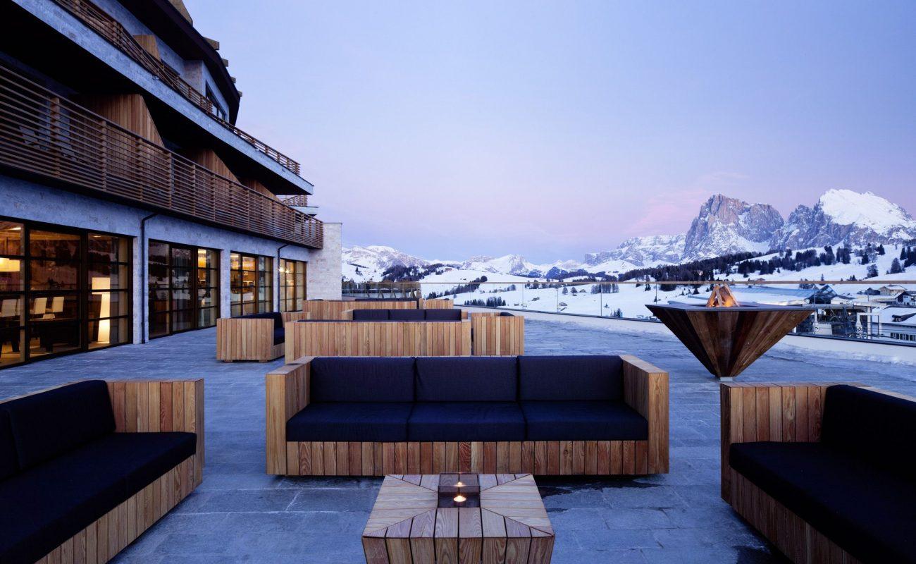 Ein herrlicher Blick von der Terrasse auf die Dolomiten
