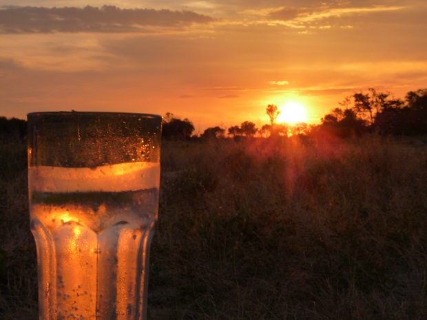 Sundowner in Botswana