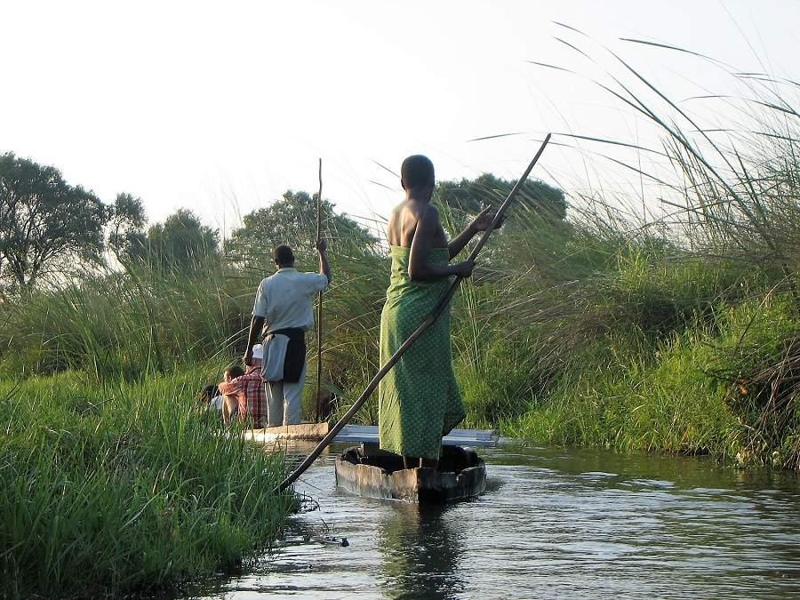 Im Mokoro durch die Schilfkanäle des Okavango Deltas