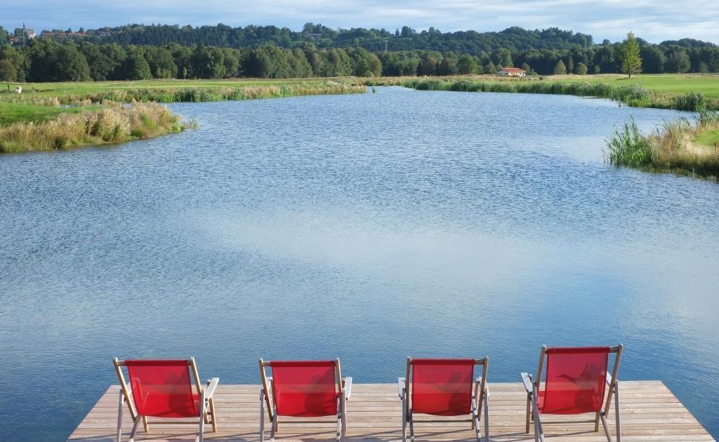 Schöne Wasserhinderniss auf den Golfplatz Achental