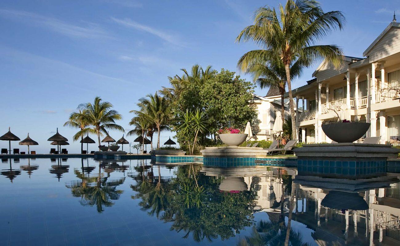 Der zweite Pool des Kolonialhotels auf Mauritius