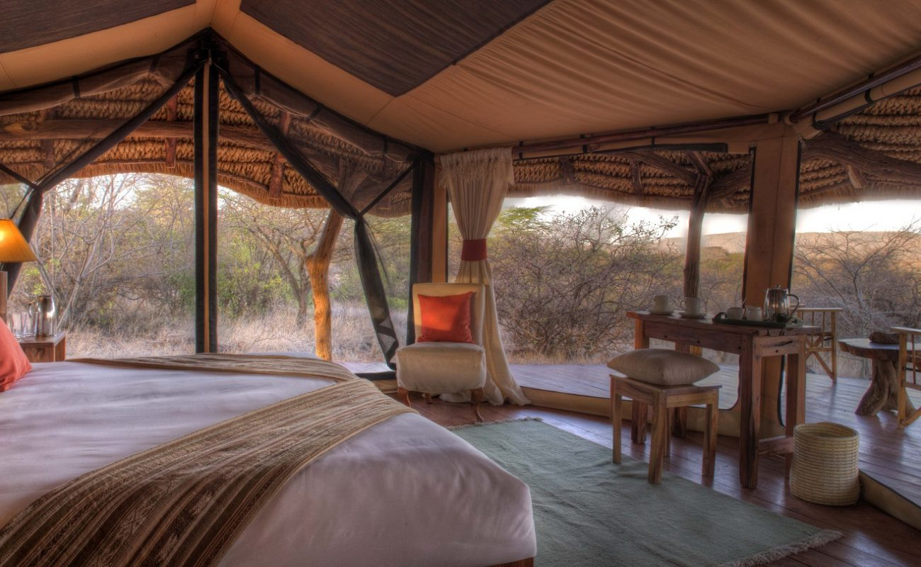 Zelt des Luxuscamps Lewa in Kenia