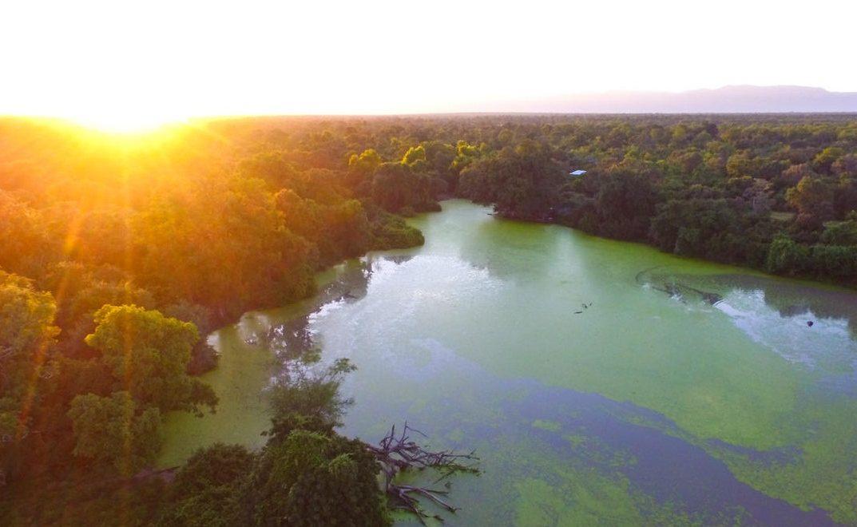 Luftaufnahme des Kanga Camps