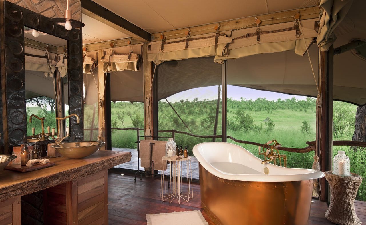 Badezimmer des Luxuscamps