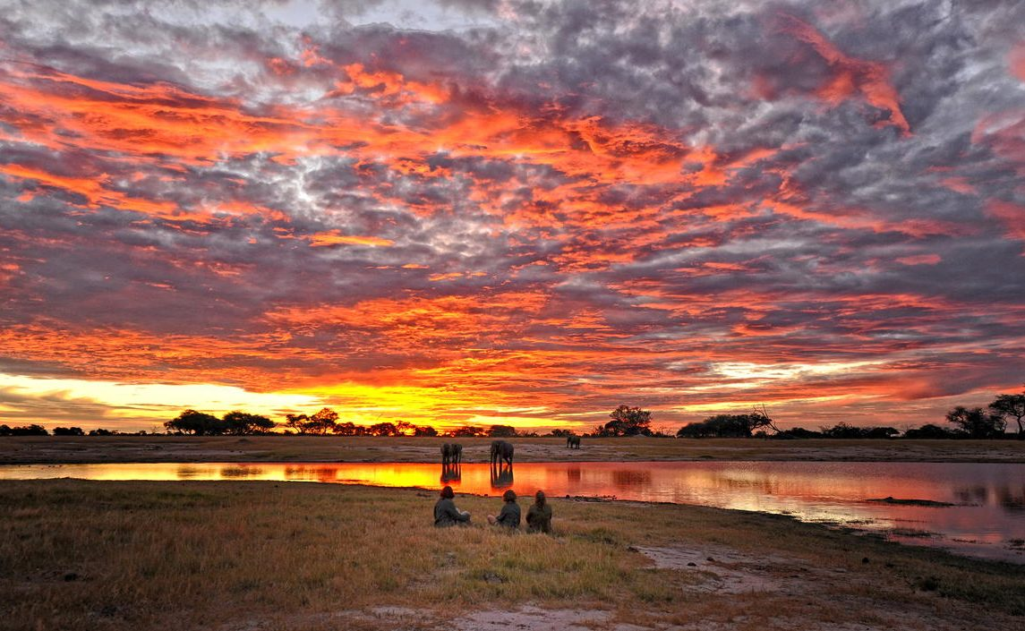 Sonnenuntergang im Hwange in Zimbabwe
