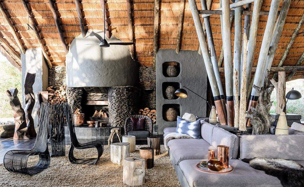 Die geschmackvolle Lounge der Luxuslodge