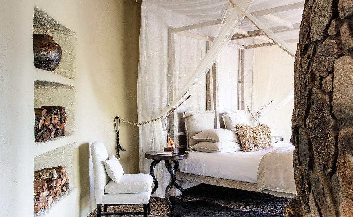 Schlafzimmer der Suite in der Luxuslodge in Südafrika