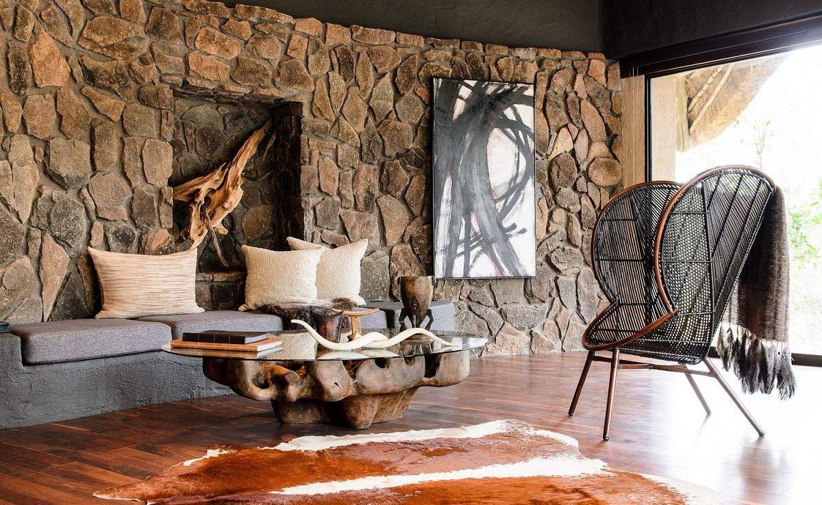 Lounge von Singita Boulders im Sabi Sands Gebiet
