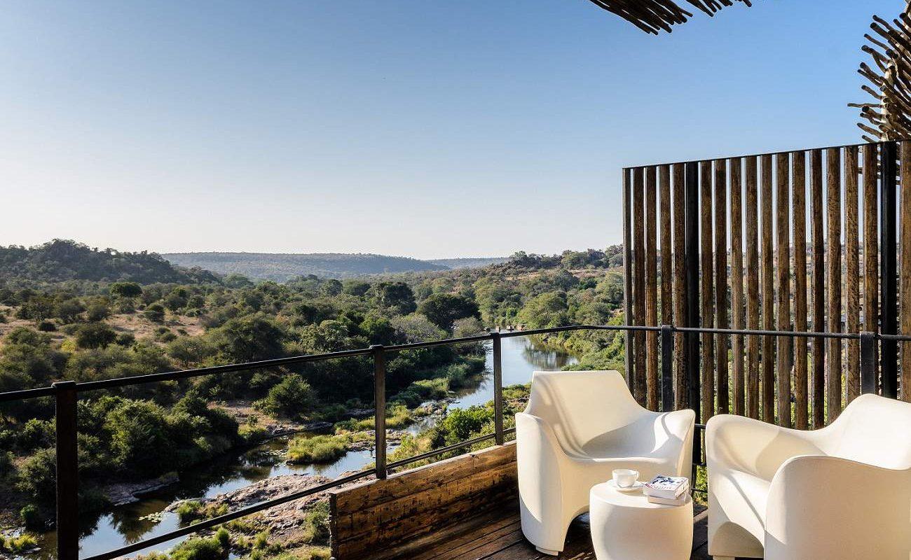 Ausblick von der privaten Veranda der Luxuslodge im Krüger