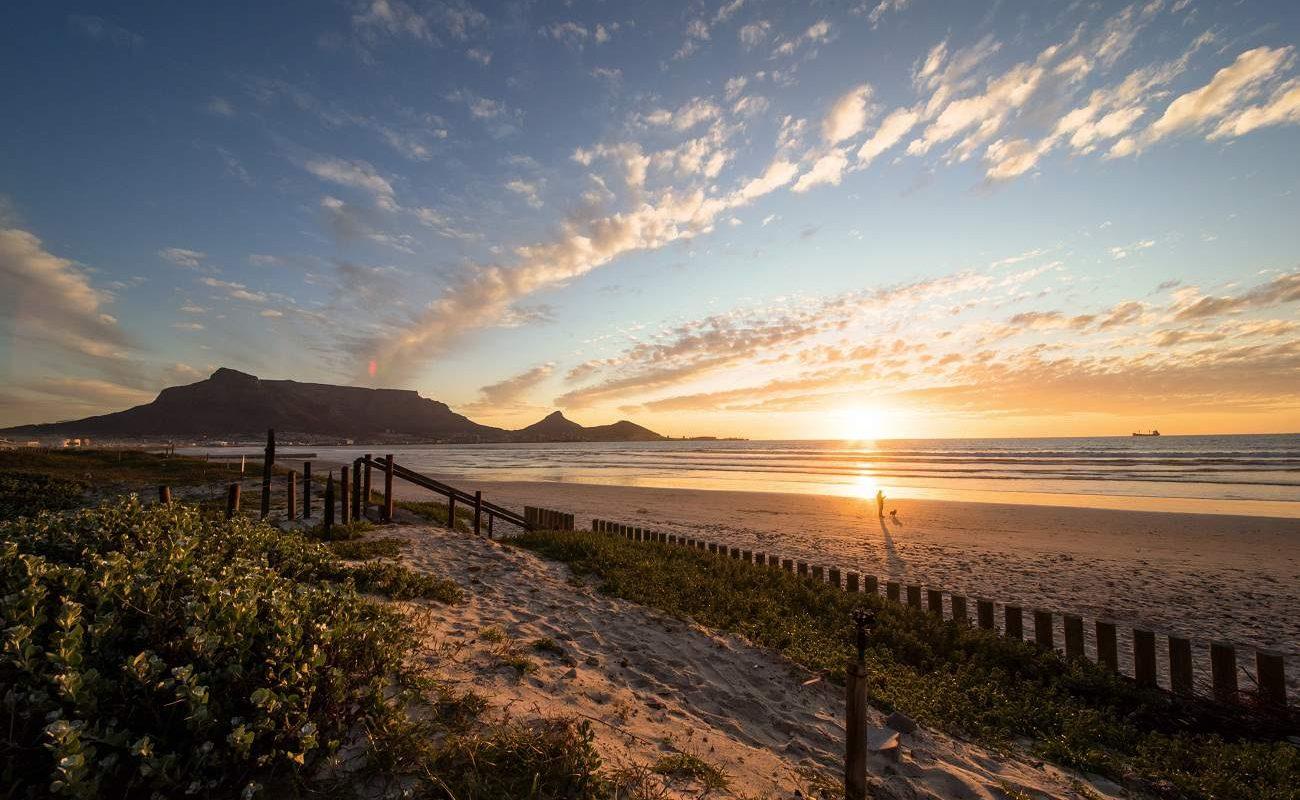 Kapstadt Tafelberg von Bloubergstrand aus gesehen