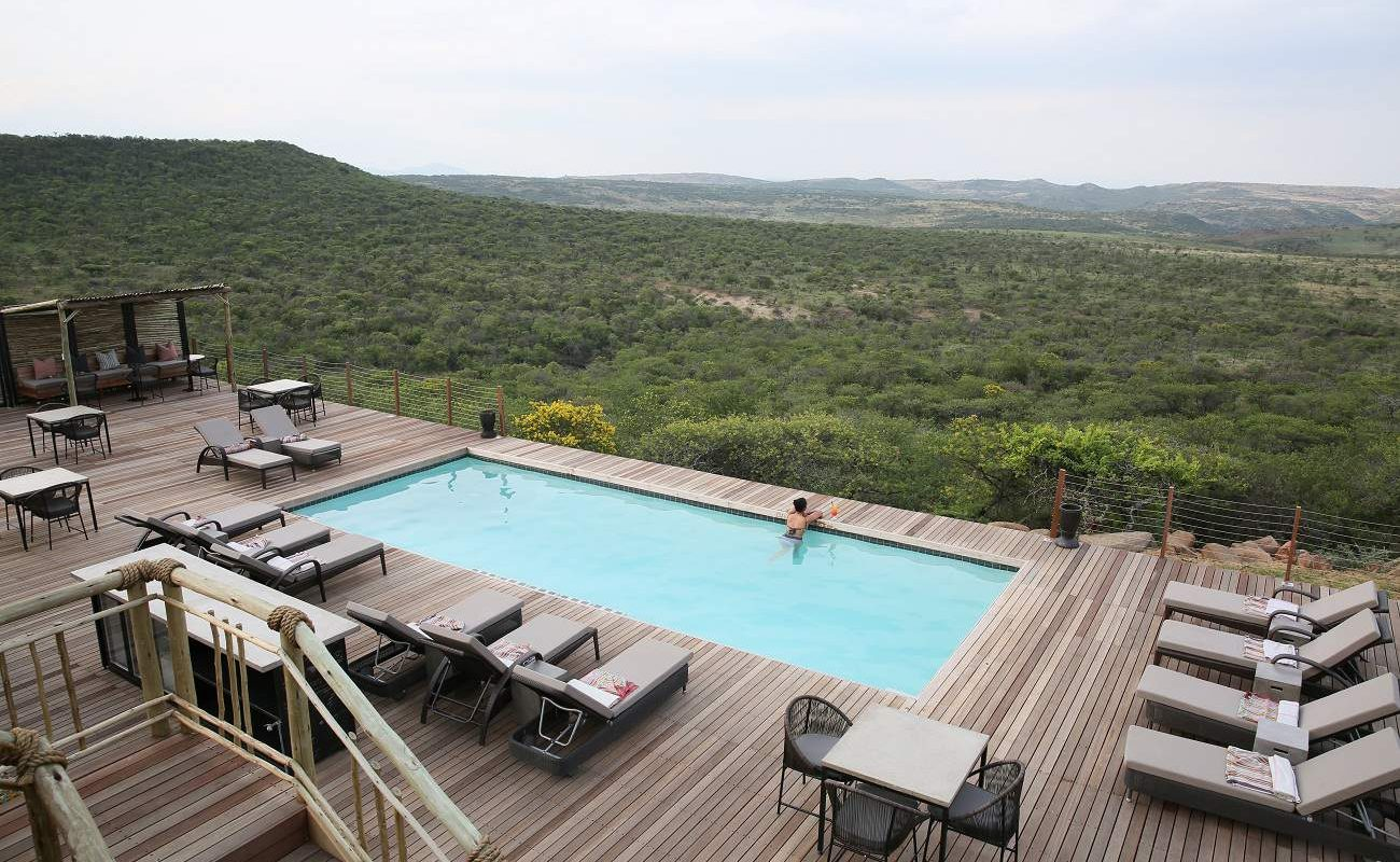 Pool der exklusiven Lodge in Südafrika