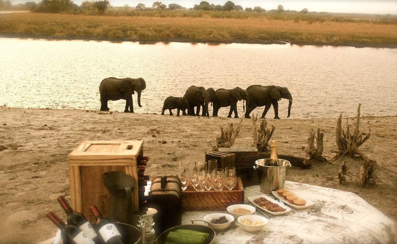 Sundowner mit Elefanten im Bwabwata Nationalpark