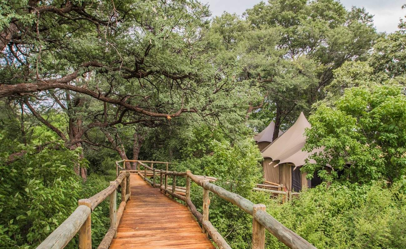 Holzstege in Nambwa Tented