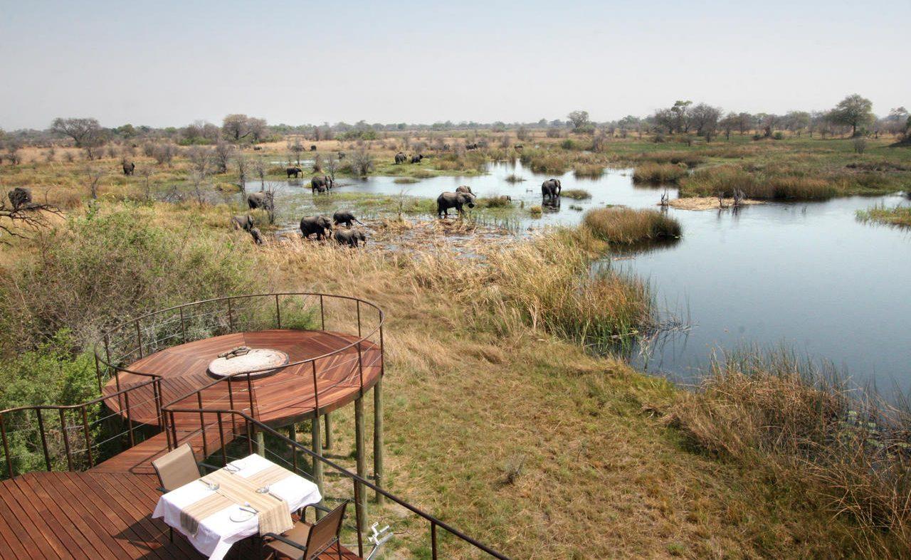 Blick von Nkasa Lupala auf Elefanten im Fluss