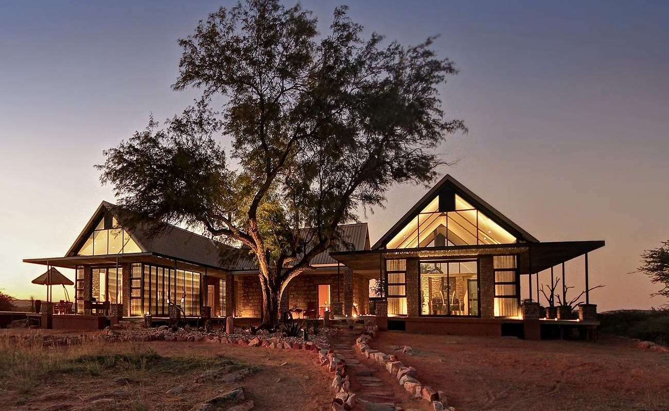 Manor House der Luxuslodge in der Kalahari