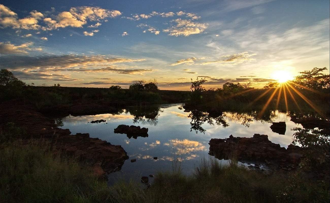 Wasserstelle auf dem Wateberg Plateau im Grünen Namibia