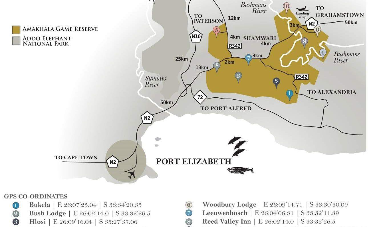 Karte des Amakhala Game Reserve