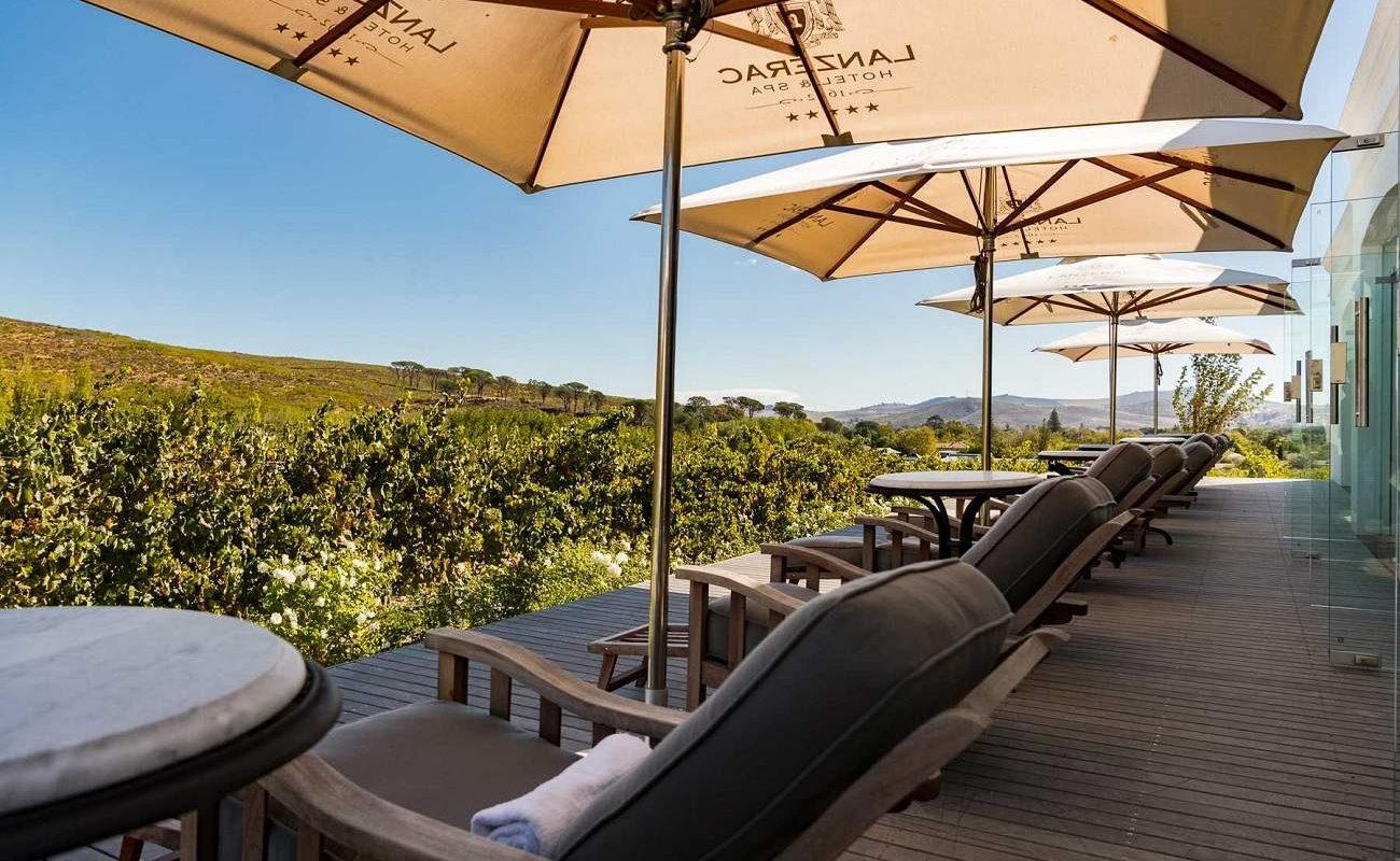 Veranda des Spa Bereichs des Luxushotels in den Winelands von Stellenbosch