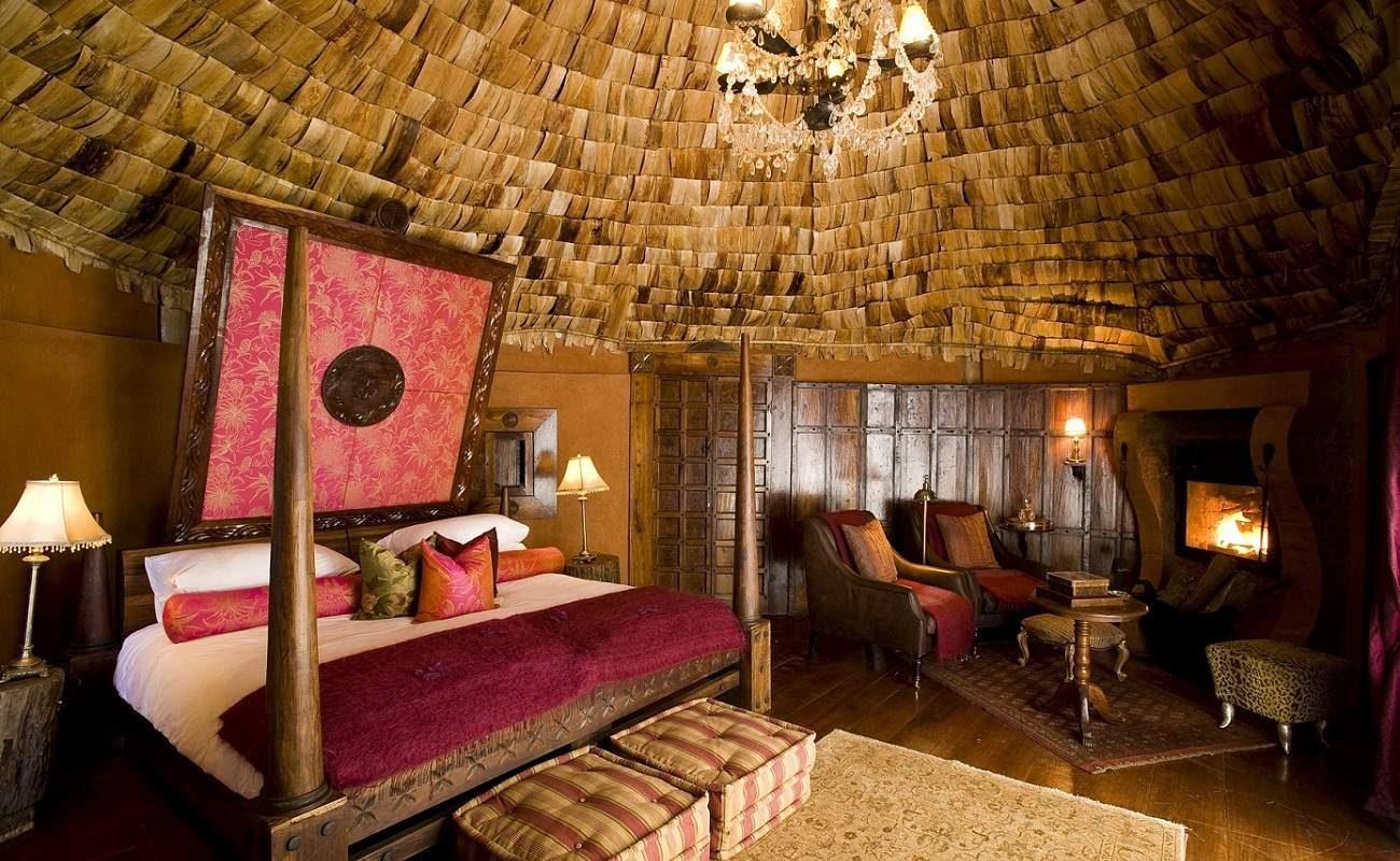 Schlafbereich der Suite der Luxuslodge