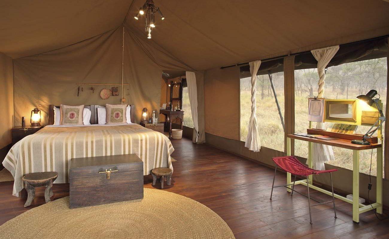 Ein Luxuszelt des Asilia Camps Dunia