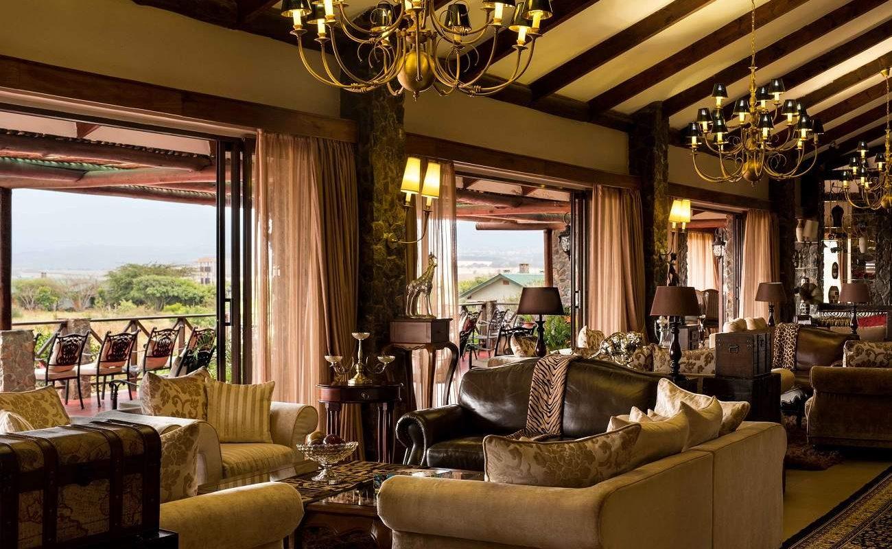 Lounge der Ngorongoro Oldeani Mountain Lodge