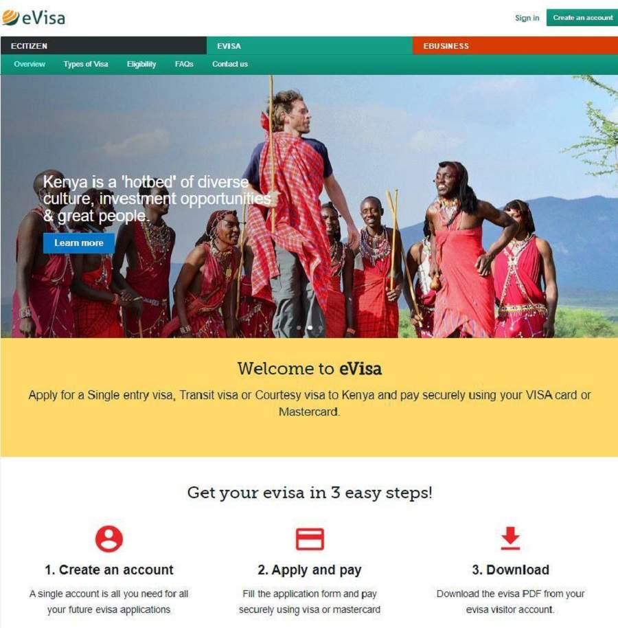 Startseite für Beantragung E-Visum Kenia