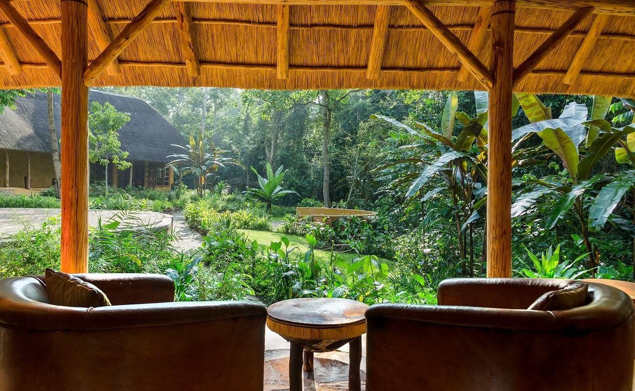 Der üppige Garten der Primate Lodge