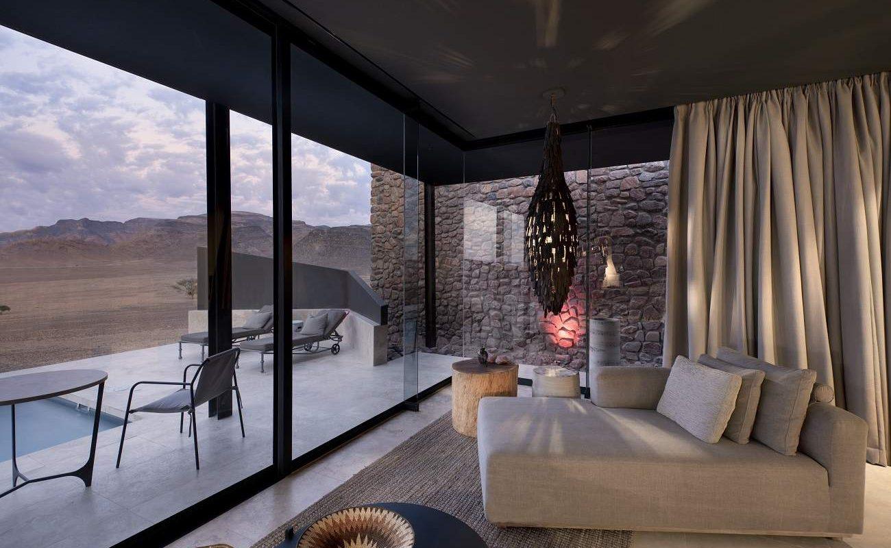 Veranda einer Suite in der Sossusvlei Desert Lodge